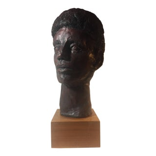 1972 Vintage Plaster Head Sculpture by H. Levy For Sale