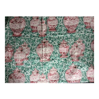 Late 20th Century Green Toile Fabric- 2 Yards For Sale