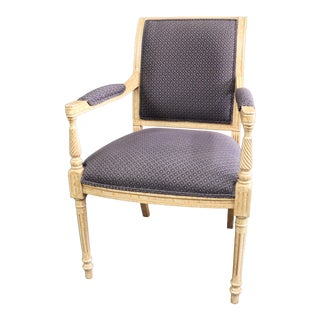 Louis XVI Style Crackle Painted Arm Chair For Sale