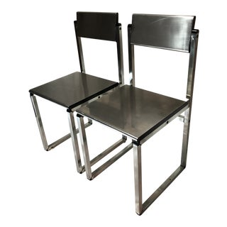 Thayer Coggins by Milo Baughmann Steel Side Chairs - A Pair For Sale