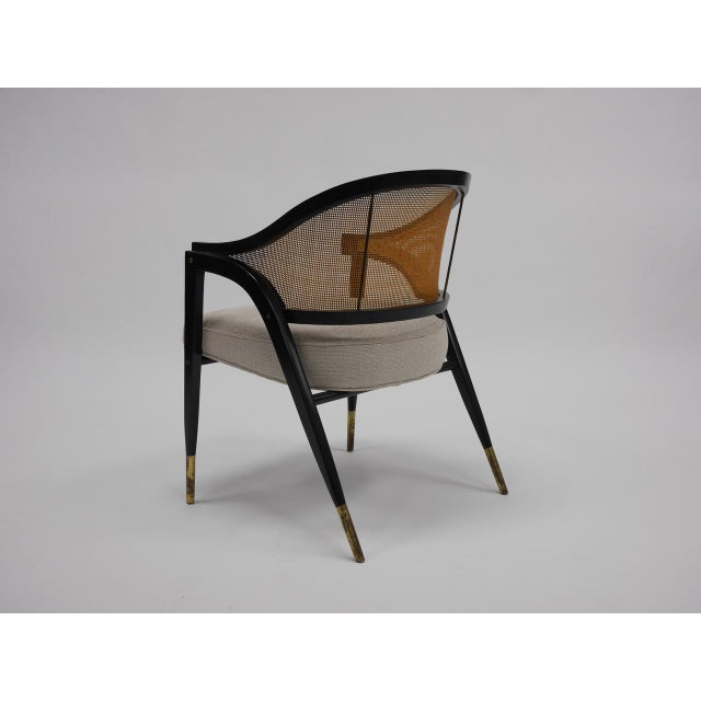 Brass Caned back occasional chairs by Edward Wormley for Dunbar For Sale - Image 7 of 11