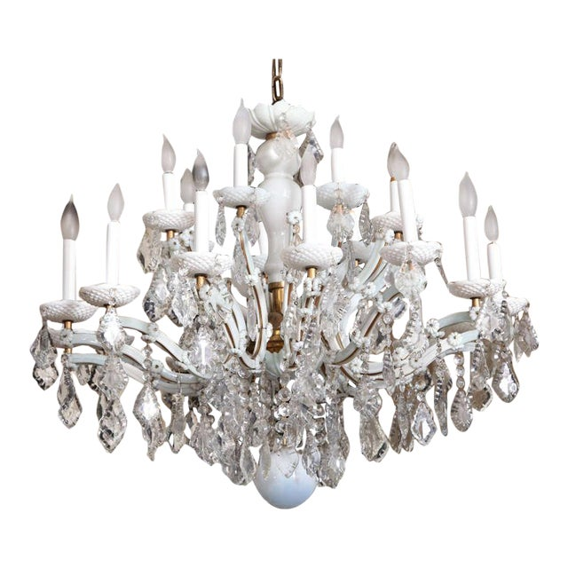Early 20th Century White Glass Maria Theresa Style Chandelier For Sale