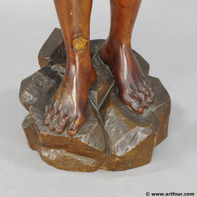Antique Wooden Carved Statue Of A Young Fisherman For Sale - Image 6 of 9