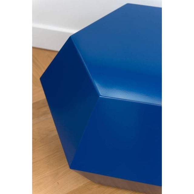 Lacquered Navy Faceted Cocktail Table For Sale - Image 5 of 6