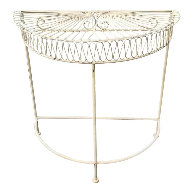 Vintage Wrought Iron Demi Lune Table With Original Paint For Sale