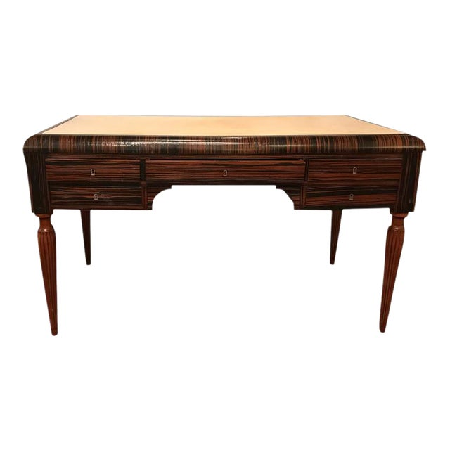 incredible art deco style ebony and macassar desk with parchment