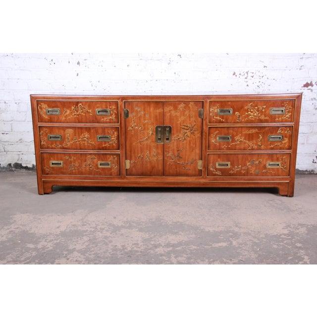 Drexel Heritage Hollywood Regency Chinoiserie Long Dresser or Credenza For Sale - Image 13 of 13