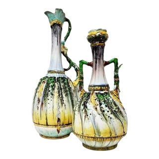 Late 19th Century Hungarian Majolica Pitchers - a Pair For Sale