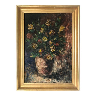 Early 1900s French Impressionist Floral Oil on Canvas For Sale