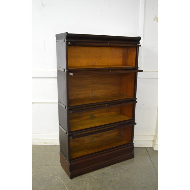 Globe Wernicke Antique Mahogany 4 Section Barristers Stacking Bookcase - Image 10 of 13