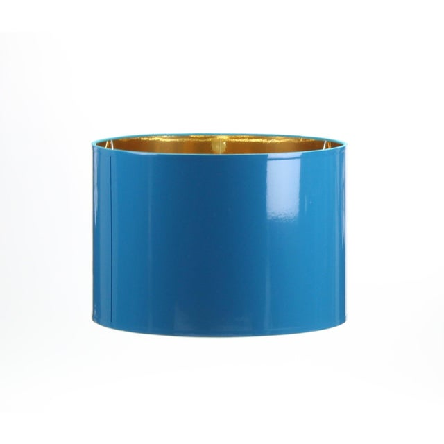 Lampshade Designs High Gloss Teal Blue Drum Lampshade For Sale - Image 4 of 6