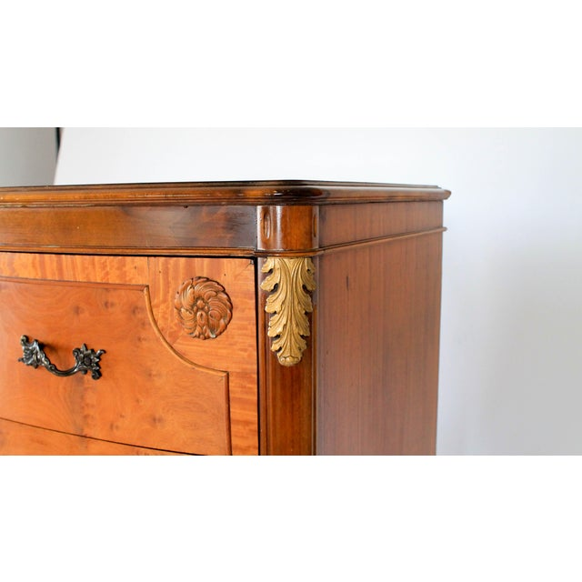 Burlwood Louis XV Burlwood Bow Front Tall Dresser For Sale - Image 7 of 13
