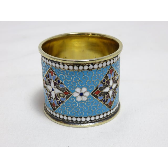 Metal Antique Russian Silver Enameled Napkin Ring For Sale - Image 7 of 7