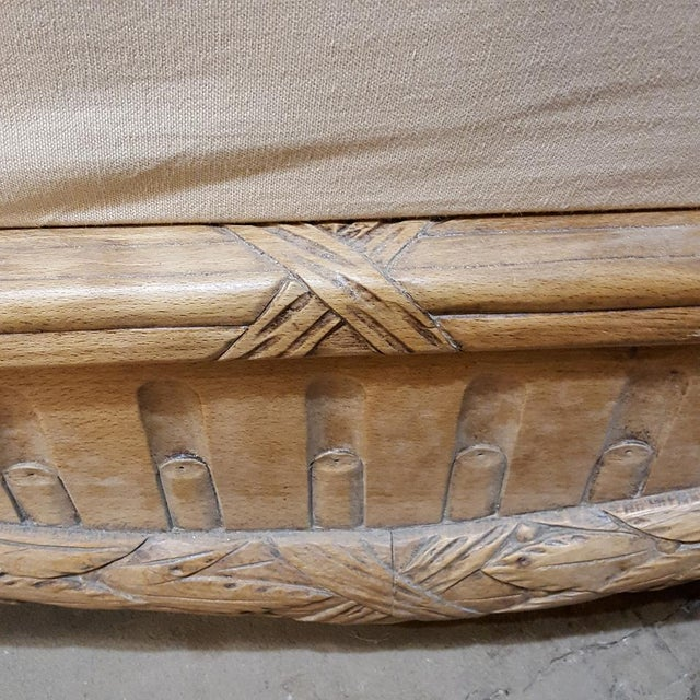 19th Century French Walnut Stripped Louis XVI Sofa For Sale - Image 9 of 12