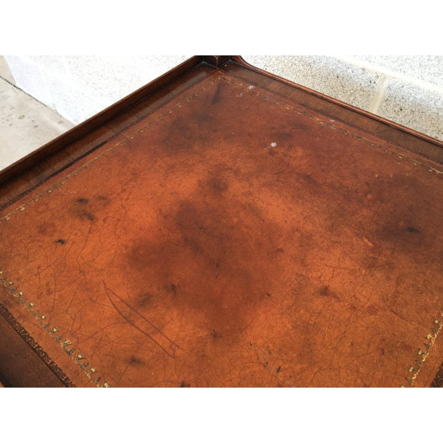 Baker Furniture Leather Top Mahogany 2 Drawer End Tables - a Pair - Image 8 of 11