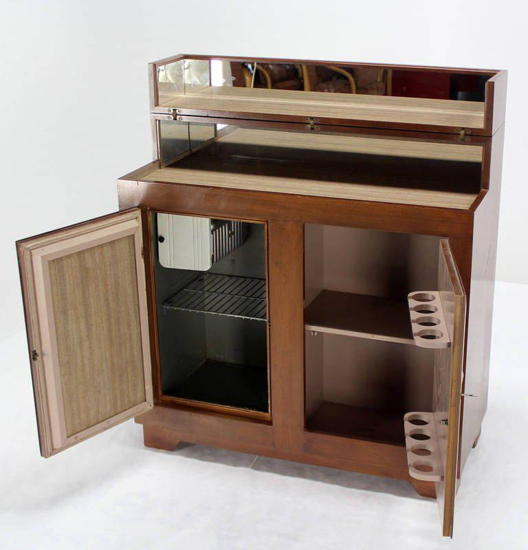Art Deco Mid Century Modern Refrigerated Bar Liquor Cabinet For Sale In New  York