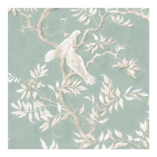 Lewis & Wood Doves Aquamarine Extra Wide Printed Botanic Wallpaper Sample For Sale