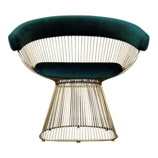 Mid-Century Modern Emerald Green Velvet Brass Wire Lounge Chair For Sale