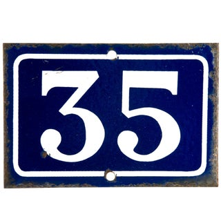 Vintage French Enamel House Number 35 For Sale