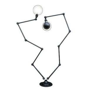 1950s Mid-Century Jean-Louis Domecq Double Jielde Lamp 5 Arms Graphite Furniture, France For Sale