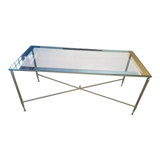Mid-Century Hollywood Regency Lightweight Metal Glass Insert With Mirrored Band Coffee Table