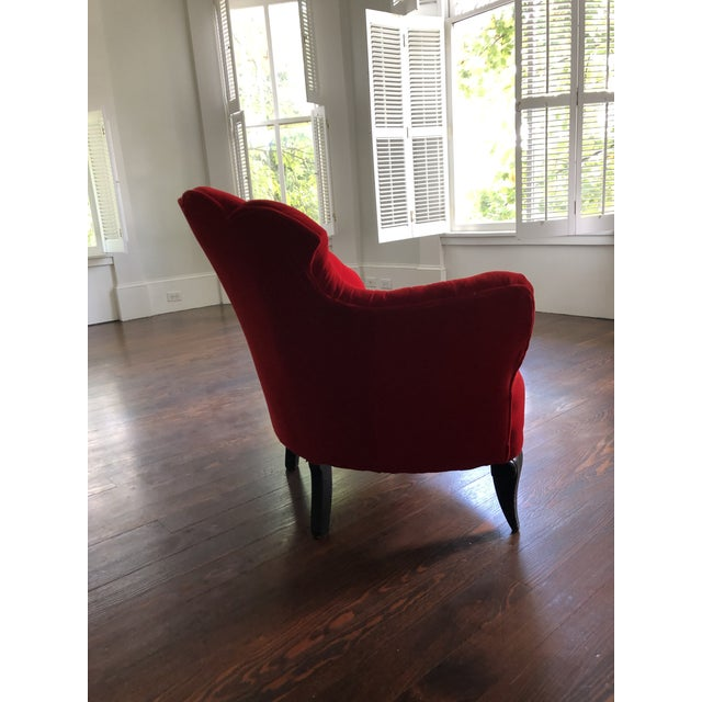 Vintage Scallop Chair With Red Velvet Fabric For Sale - Image 4 of 8