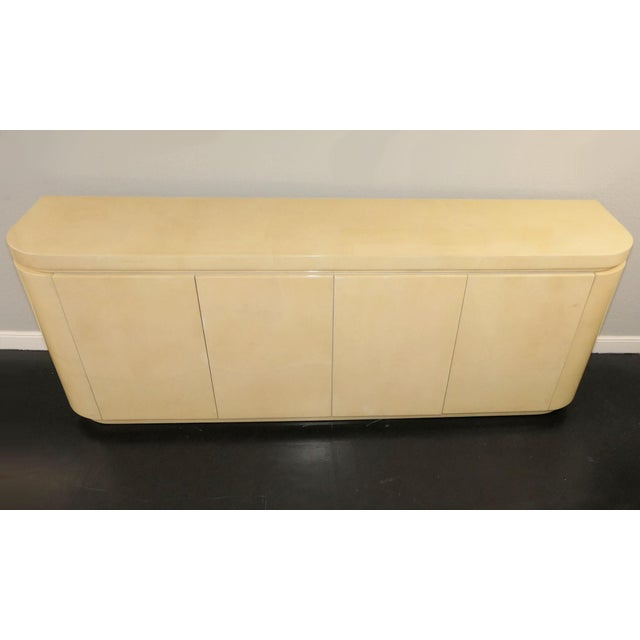 Contemporary Mid-Century Modern Jimeco Ltda Lacquered Goatskin Credenza For Sale - Image 3 of 13