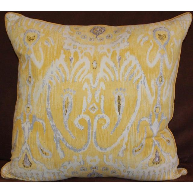 Yellow Ikat Throw Pillows - A Pair - Image 3 of 6
