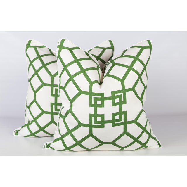 Custom Linen Emerald Lattice Imperial Pillows - A Pair - Image 4 of 4