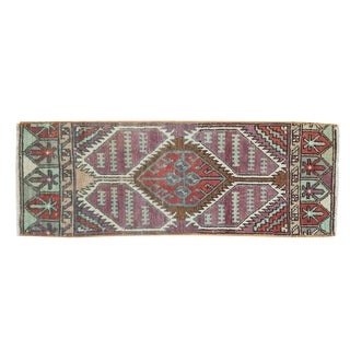 "Vintage Distressed Oushak Rug Mat Runner - 1'2"" X 3'3"" For Sale"