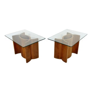 Mid Century Modern Sculptural Wood Glass End Tables - a Pair For Sale