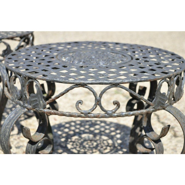 Black French Art Nouveau Style Wrought Iron Lattice Top Round Side Tables - a Pair For Sale - Image 8 of 12