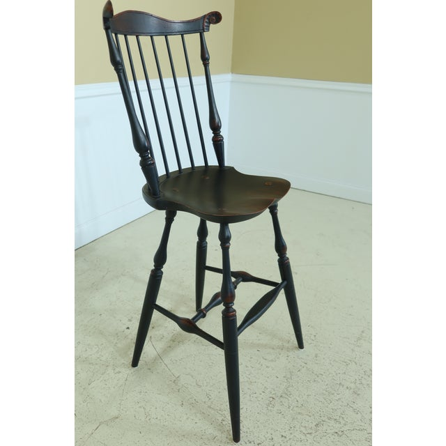 Traditional Windsor Style Fan Back Windsor Bar or Counter Chairs - a Pair For Sale - Image 3 of 12