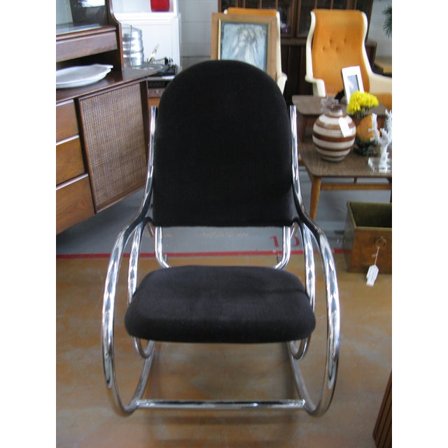 1970s Mid-Century Modern Curvaceous Upholstered Chrome Rocking Chair For Sale - Image 9 of 10