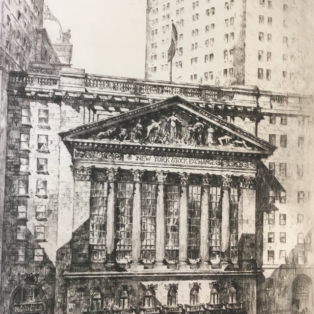 "1920s 1925 ""New York Stock Exchange"" Architectural Original Signed Etching by Anton Schütz, Framed For Sale - Image 5 of 8"