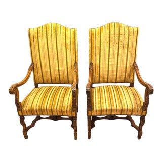 19th-Century Carved French Walnut Fauteuils - a Pair For Sale