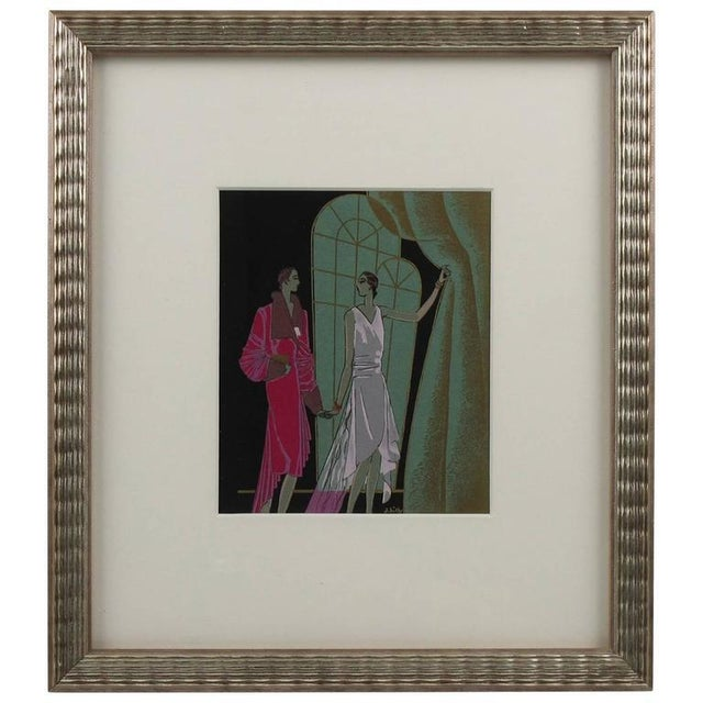 Gouache French J. Hilly 1920s Original Art Deco Ink and Gouache Illustration Drawing For Sale - Image 7 of 7