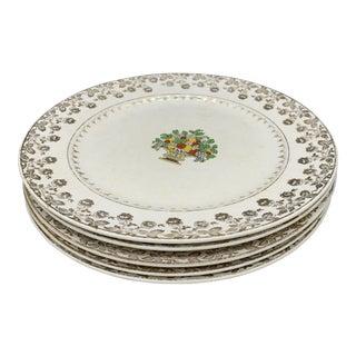 1940s Vintage Pope Gosser Gold Filigree Dinner Plates - Set of 5 For Sale