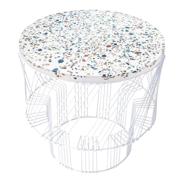 Contemporary Indoor/Outdoor Terrazzo Table in White For Sale