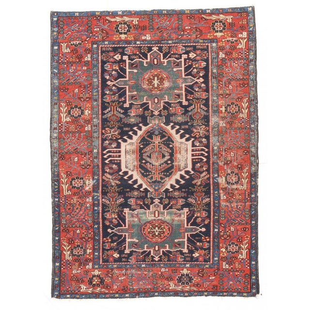 Late 18th Century Antique Hand Made Karajeh Persian Rug- 4′7″ × 6′3″ For Sale - Image 5 of 5