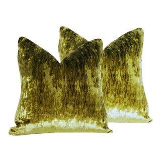 Luxe Flame Stitch Green Velvet Pillows - A Pair