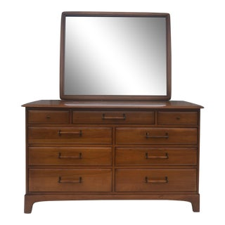 Mid Century Modern Pine Lowboy Dresser With Mirror - a Pair For Sale