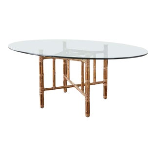McGuire Organic Modern Bamboo Rattan Oval Dining Table For Sale