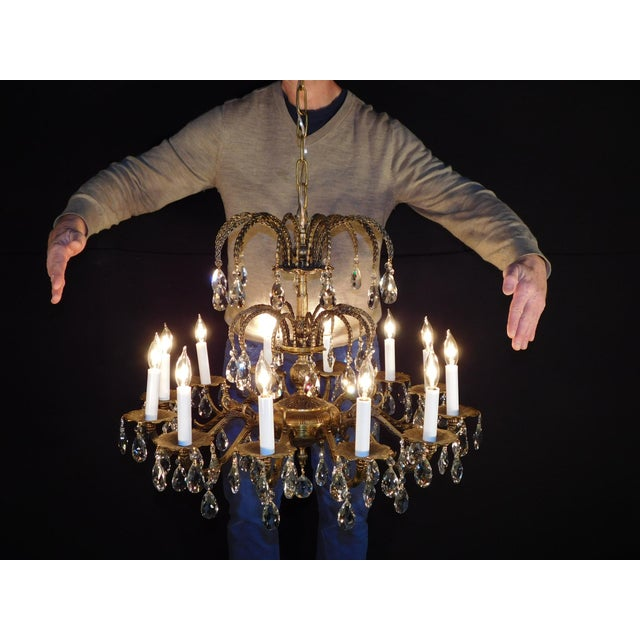 Antique French Brass Cut Lead Crystal Chandelier For Sale - Image 13 of 13