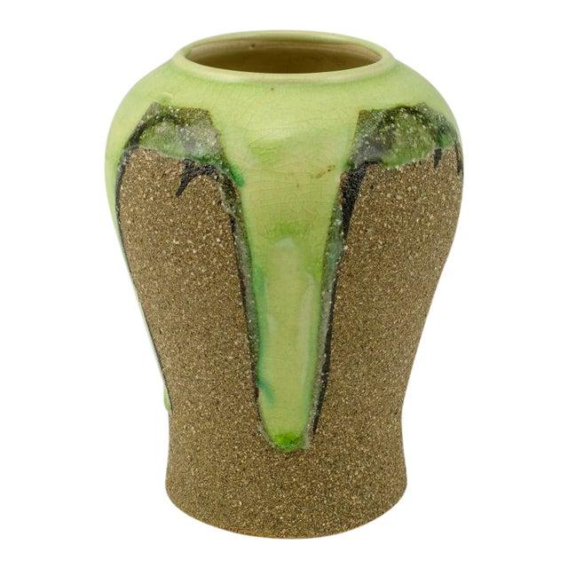 Ginger Jar Shaped Vase In Celery & Rough Sand Glaze For Sale