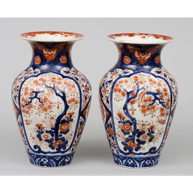 Japanese Pair of Japanese Imari Open Vases, circa 1870 For Sale - Image 3 of 7
