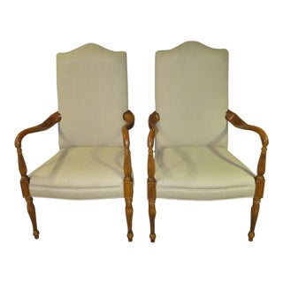 1970s Vintage Traditional Style Arm Chairs- A Pair For Sale