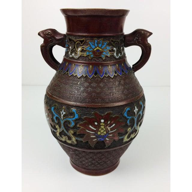 Vintage Japanese Champleve Cloisonne Bronze Vase - Image 3 of 8