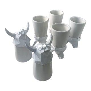 Modern Cubist Bull Shot Glasses - Set of 6 For Sale