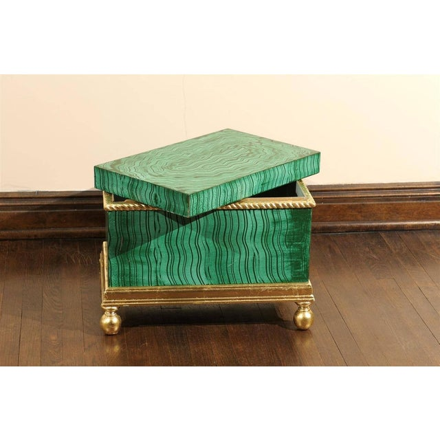 Hollywood Regency Hollywood Regency Faux Malachite Box For Sale - Image 3 of 6
